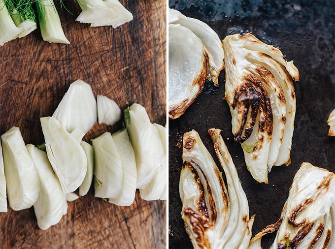 Left - a prepared fennel bulb sliced into wedges. Right - roasted fennel fresh from the oven ready to be tossed into a roasted fennel salad.