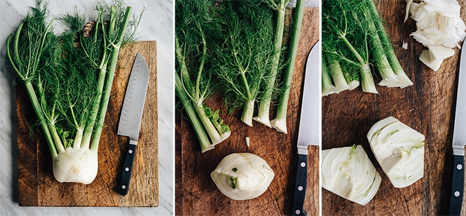 Steps illustrating how to cut a fennel bulb into a wedges. From left to right - a whole fennel bulb; a fennel bulb with the fronts sliced off; a fennel bulb sliced in half with the core removed.