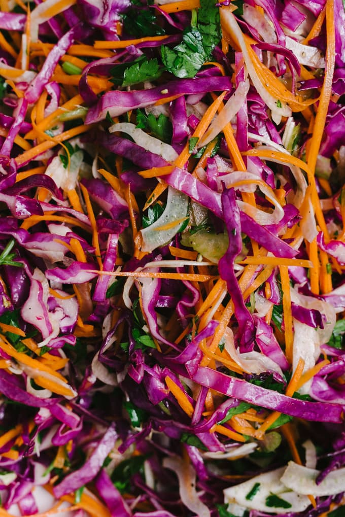 Close-up detail of apple cider vinegar slaw. This autumn coleslaw is made with raw red cabbage, fennel, celery, carrots, and parsley. This recipe is quick, easy, and nutrient dense. Fall power food! #coleslaw #autumn #realfood #wholefoods #vegetarian #sidedish
