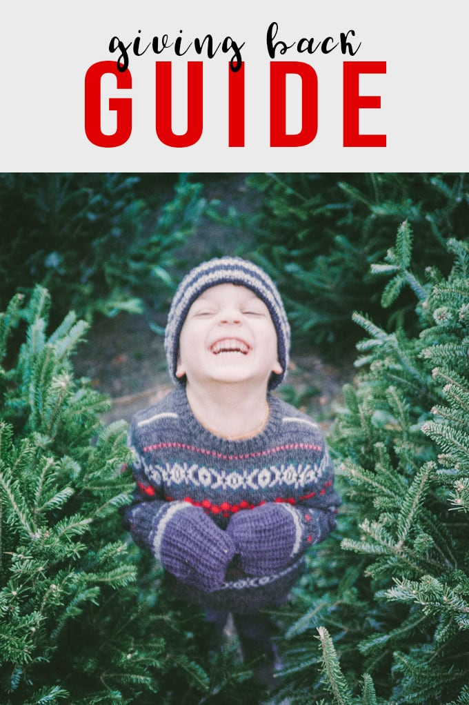 A young boy smiling at a Christmas Tree farm with a call to action for food related charities.