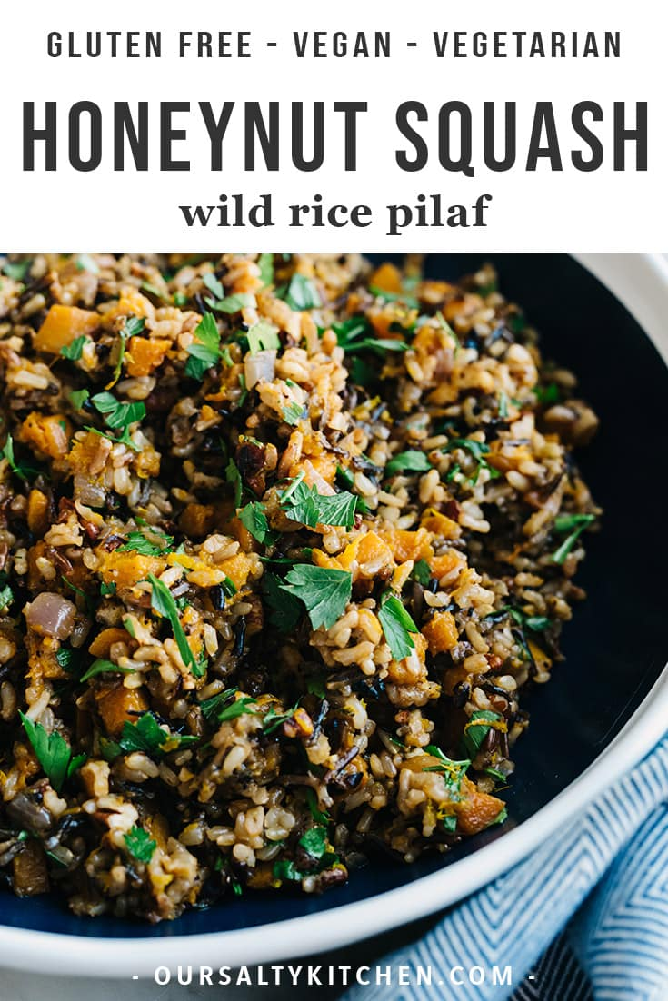 I love having grain salads or pilafs on hand for easy lunches or side dishes, and this honeynut squash rice pilaf is a rockstar addition my usual rotation. Honeynut squash is sweet and nutty with intense flavor, so it pairs perfectly with wild rice. Herbs, orange juice and zest give it a savory edge for an irresistible seasonal salad or side dish. It'd also make a gorgeous addition to your Thanksgiving spread! #vegan #vegetarian #Thanksgiving #glutenfree #wholefoods #honeynut #sidedish