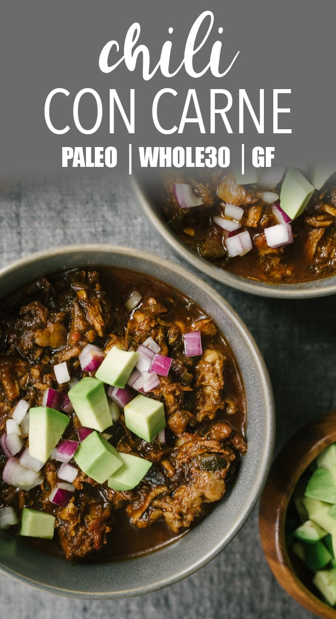 This recipe for paleo chili con carne is a rich and bone-warming addition to your cold weather rotation. It's a paleo and whole 30 chili recipe everyone will love! #wholefood #realfood #paleo #whole30