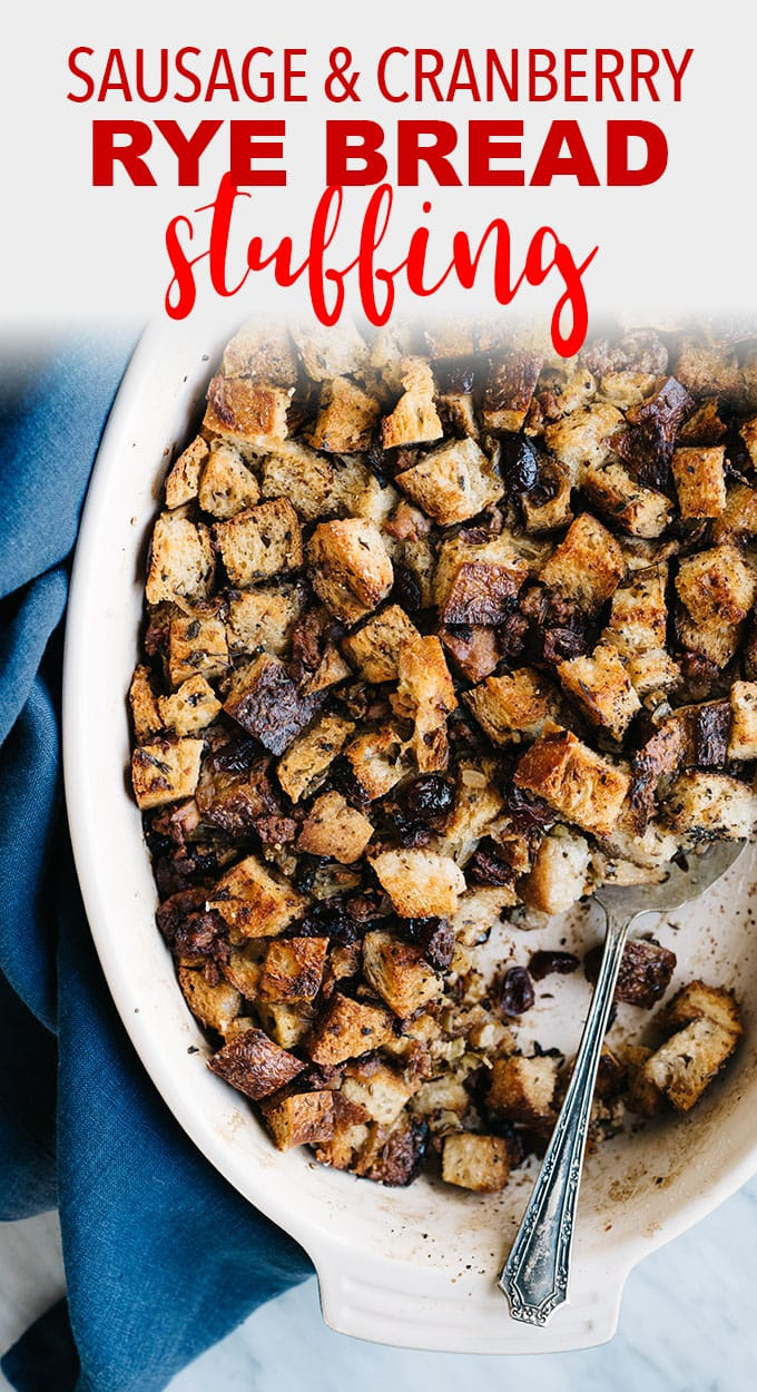 Stuffing is hands down my favorite part of Thanksgiving dinner. This sausage and cranberry stuffing is super easy, deeply flavorful, and a total crowd pleaser. #thanksgiving #stuffing #sidedish #sausage