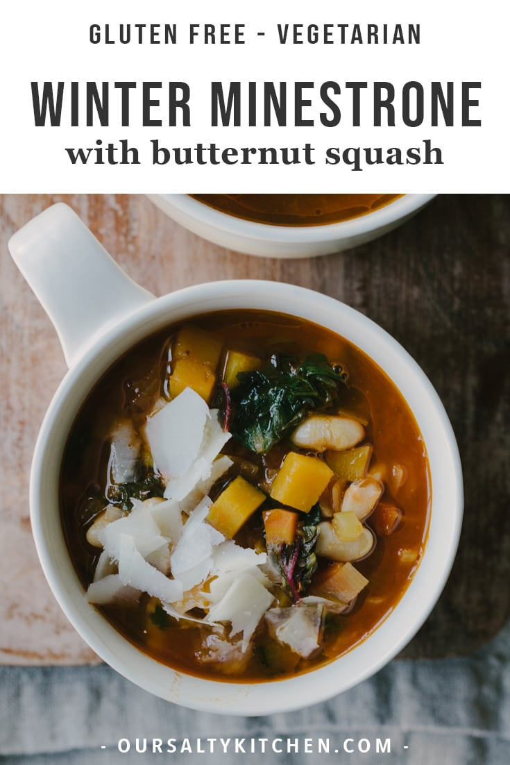 This gluten free winter minestrone soup recipe is packed with healthy, nutritious vegetables but is still rich and indulgent. It's naturally gluten free, vegetarian optional, and completely addictive. I dare you to eat just one bowl! #minestrone #soup #healthyrecipes #stew #glutenfree #vegetarian #dinner #winter