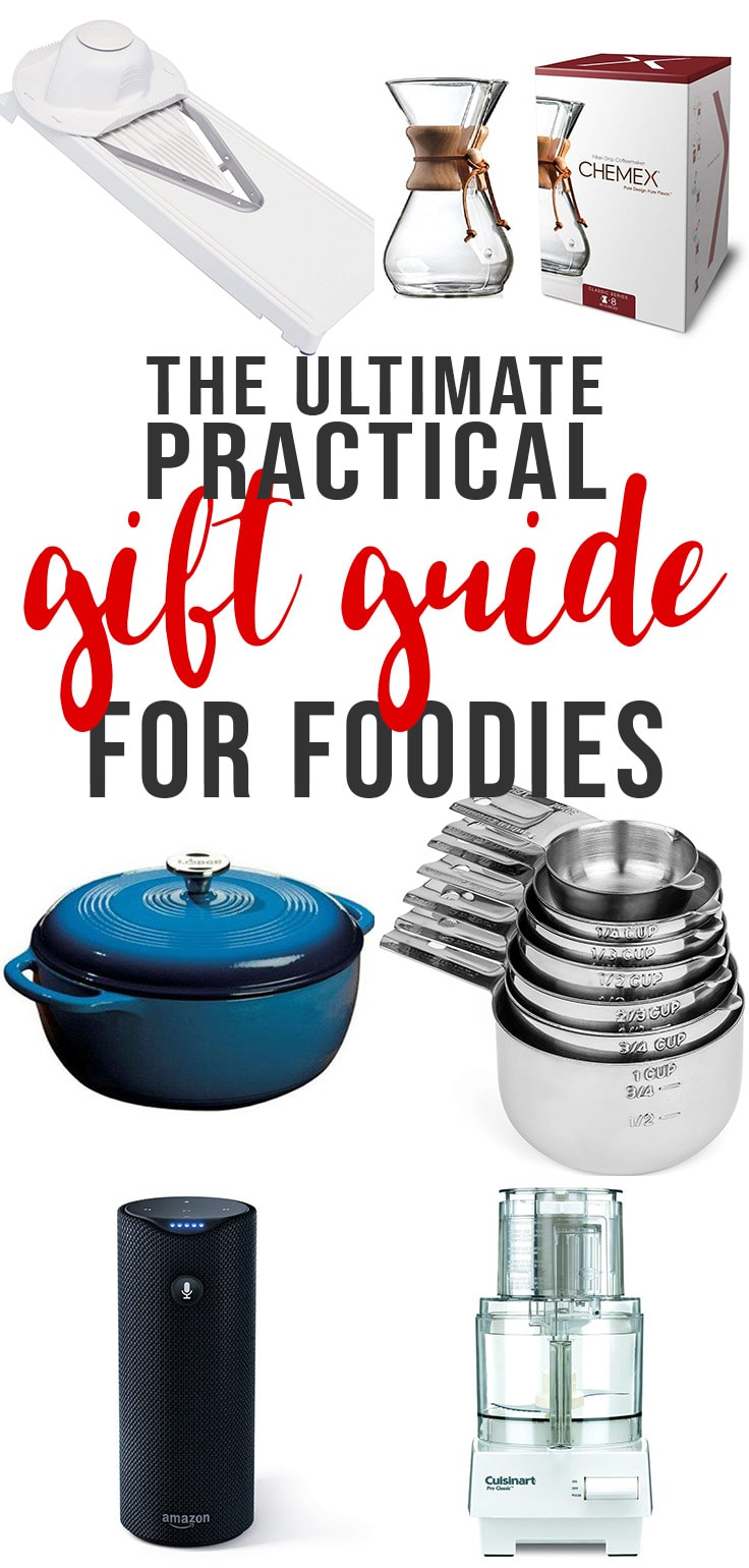 This is the ultimate list of practical and useful Christmas and holiday gifts for the foodie or home chef on your list. Find ideas for special tools they want, appliances they need, useful cookbooks, and so much more! #giftguide #christmas
