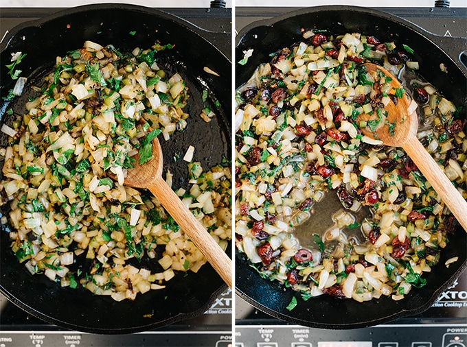 Two images showing how to sautee the vegetable, herb, and cranberry mire poix for sausage and cranberry stuffing.