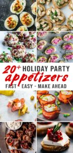 Various images of cocktail party appetizers for a round up of fast, easy, and or make ahead cocktail party appetizer.