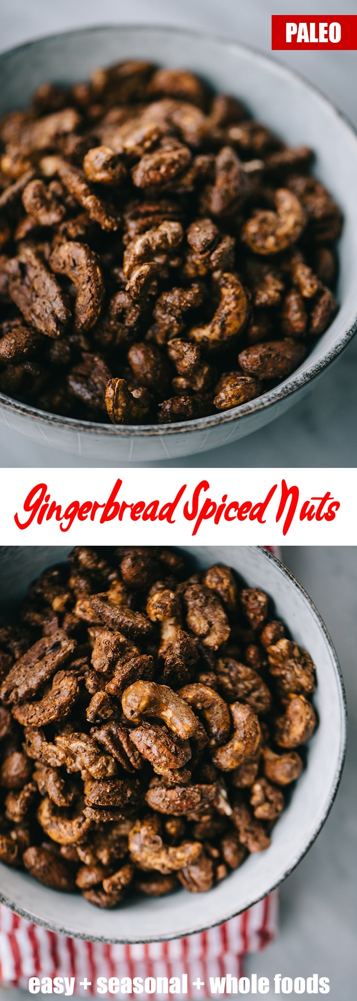 Spice up your holiday party with these irresistibly seasonal gingerbread spiced nuts!They're an easy, make-ahead, crowd pleasing holiday appetizer or cocktail party snack. They're paleo, refined sugar free, require just 15 minutes of prep, and can be completely prepared in advance. #paleo #appetizer #snack #gingerbread #spicednuts
