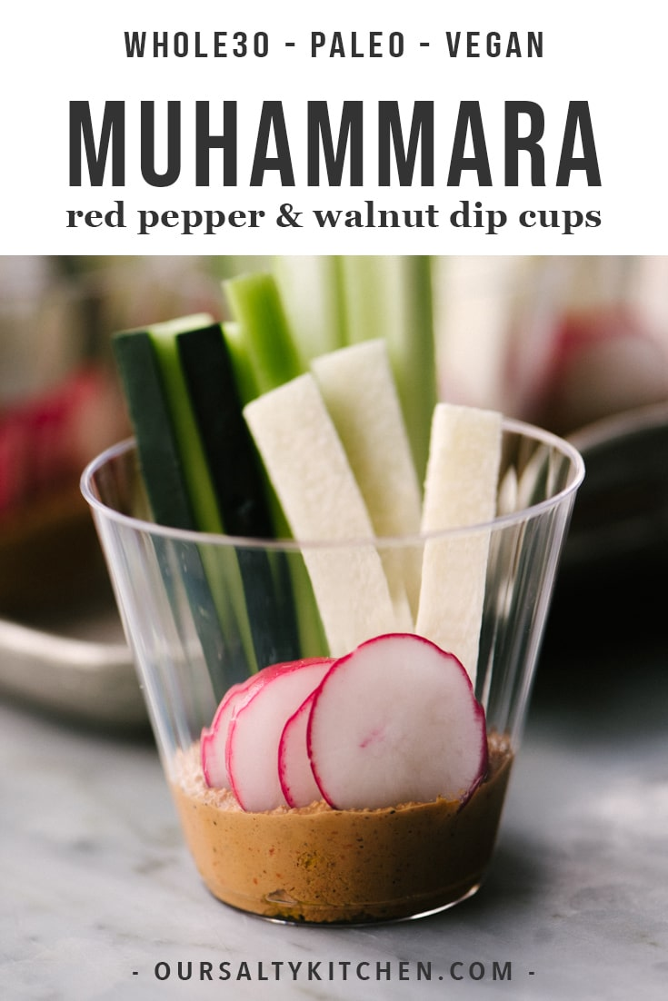 Maintaining a healthy or paleo diet during the holidays is tough! Luckily these muhammara party dip cups are here to help. Muhammara is a middle eastern roasted red pepper and walnut dip. It's rich, nutty, and sweet and pairs perfectly with crisp vegetables for a vegan, paleo, and low carb cocktail party offering. I love serving it in individual party cups - they're pretty, fun, and portable. Perfect party food! #muhammara #dip #cocktailparty #paleo