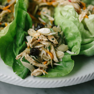 No Mayo Cherry Chicken Salad Lettuce Wraps