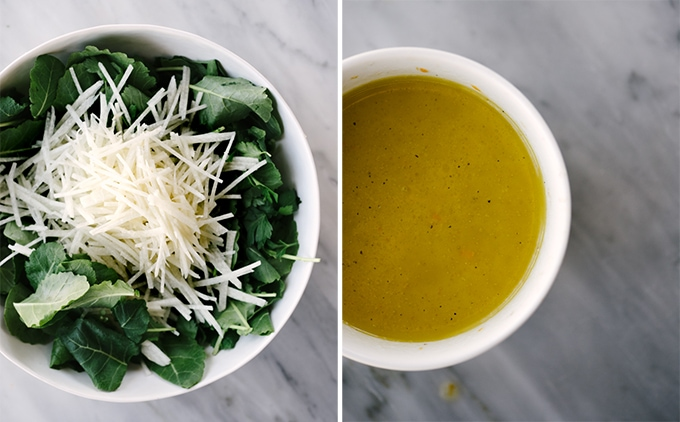 Left: baby kale and julienned jicama in a salad bowl. Right: citrus vinaigrette to dress the citrus kale salad.