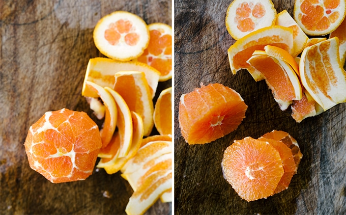 "Left: an orange with the peel and pith completely sliced. Right: a peeled orange sliced into 1/2"" sections."