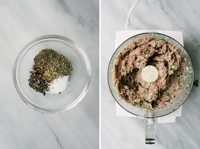 Left - dried herbs and spices in a small glass bowl on a marble background. Right - paleo ground turkey meatballs mixed in the bowl of a food processor.