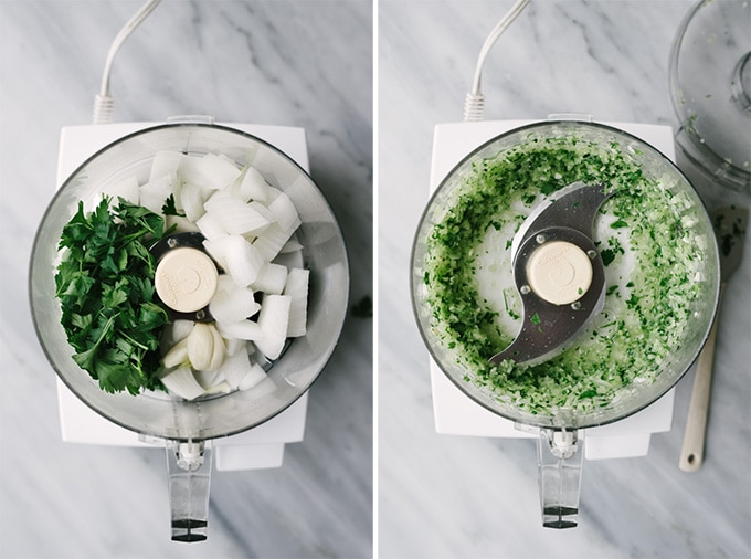 How to make paleo turkey meatballs. Left - chopped onions and parsley in the bowl of a food processor on a marble background. Right - minced parsley and onions in the bowl of a food processor on a marble background.