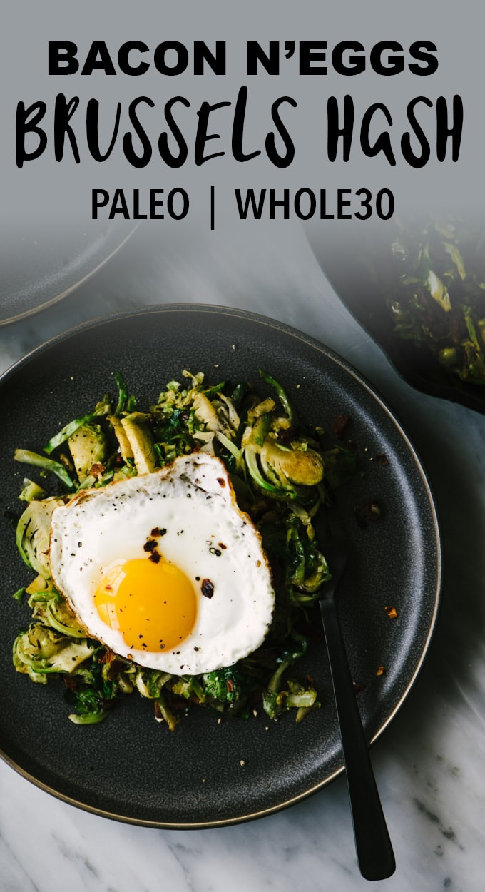 This brussels sprout hash with bacon and egg is here to save your Whole30 day! It's a fast and easy breakfast prep recipe, that's paleo and whole30 compliant. Yes! #whole30 #paleo #breakfast #hash #brusselssprouts