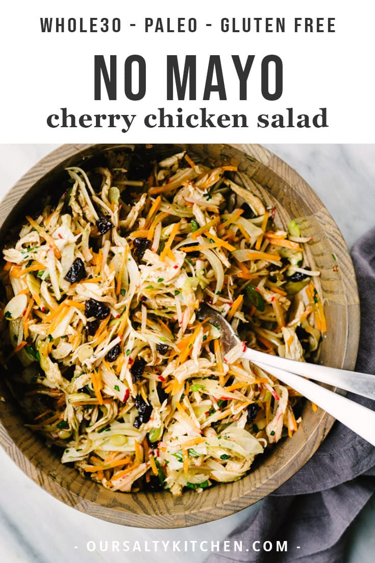 No mayo whole30 cherry chicken salad in a wood bowl.