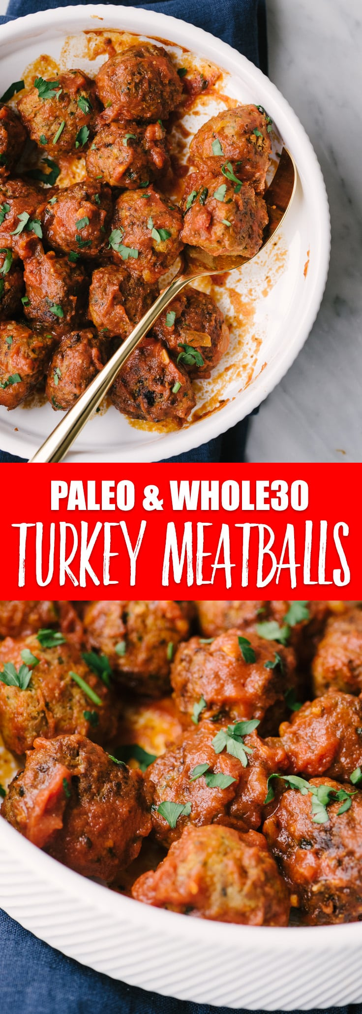 These whole 30 and paleo turkey meatballs are moist, tender, and incredibly flavorful. The whole family will love this easy, paleo and whole 30 ground turkey dinner recipe! #paleo #whole30 #turkeymeatball #realfood #paleomeatball #groundturkey #recipe