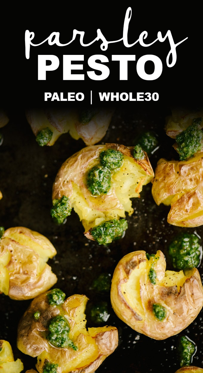 This paleo parsley pesto is literal awesome-sauce. It's my go-to Whole30 sauce for for everything from chicken to shrimp to potatoes! This pesto sauce recipe is fast, easy, healthy, bright and tangy. You'll want to put this on everything!  #whole30 #paleo #realfood #pesto #condiment #recipe #dairyfree