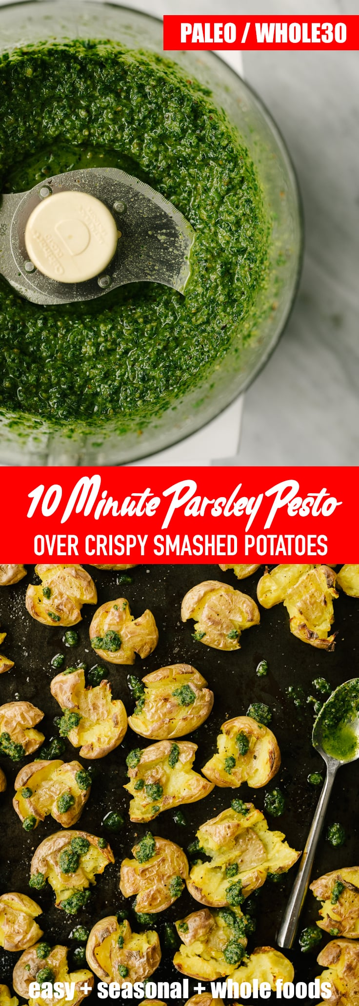 This Whole30 compliant parsley pesto is literal awesome-sauce. It's my go-to winter condiment for grilled protein, roasted potatoes or vegetables, and so much more. It's fast, easy, nutritious, bright and tangy. You'll want to put this on everything! Get more easy, seasonal, Whole30, paleo, and real food recipes at oursaltykitchen.com. #whole30 #paleo #realfood #pesto #condiment #recipe