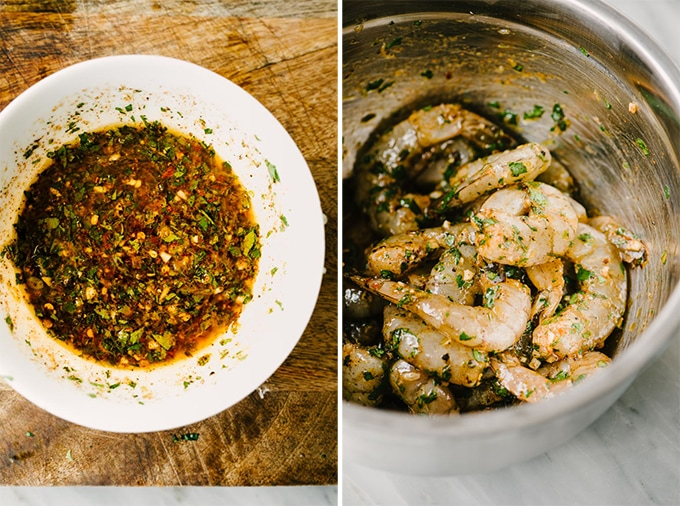 A double image. On the left, a white bowl with filled with the marinade for paleo spicy shrimp. On the right, shrimp in a mixing bowl tossed with the marinade.