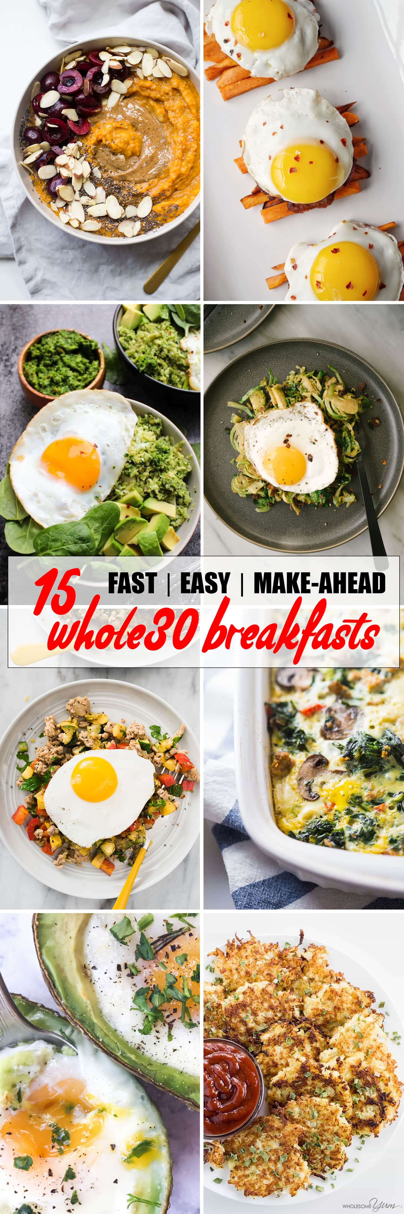 These easy, fast, and/or make ahead Whole30 and paleo breakfast recipes will make your morning rock! Everything you need for delicious, satisfying breakfasts to crush your Whole30! #whole30 #paleo #breakfast #recipes #makeahead #easy #fast