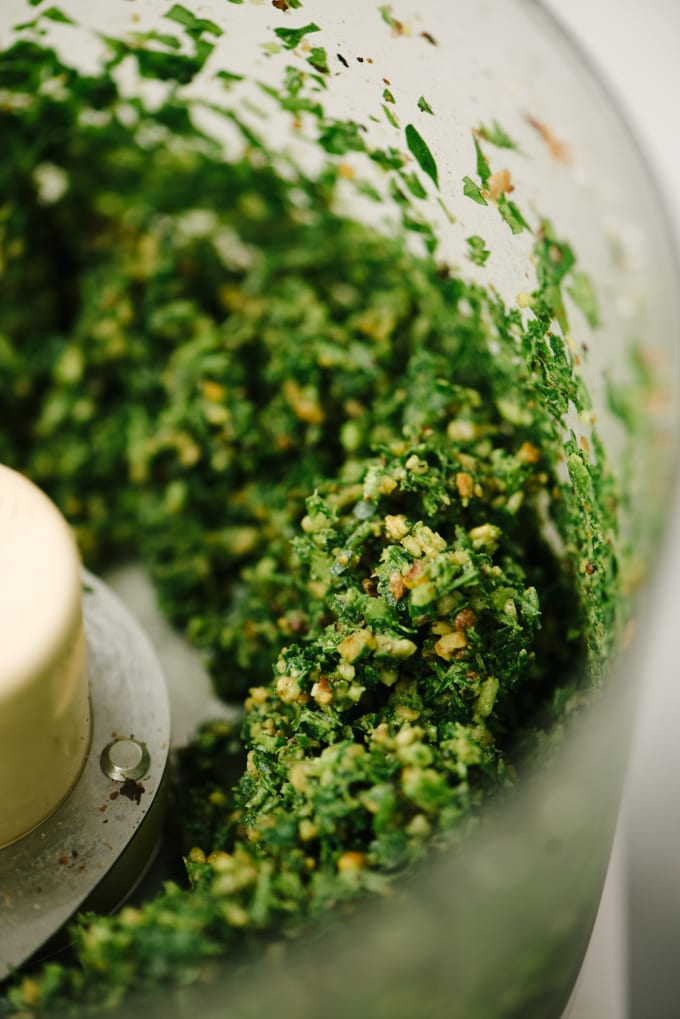 A detail image of pulverized walnuts, parsley, chives, and garlic in the bowl of a food processor for parsley pesto.