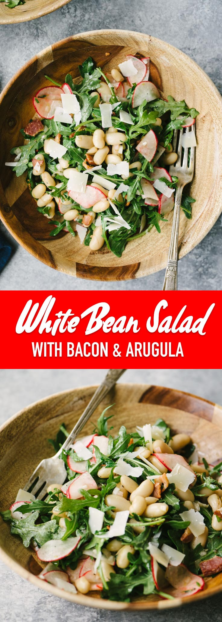 This white bean salad with bacon and arugula is a bold and tangy gluten free dinner. It's easy and hearty, and ready in just 25 minutes. #whitebeans #glutenfree #bacon #quickandeasy #recipe #grainfree #realfood #wholefoods