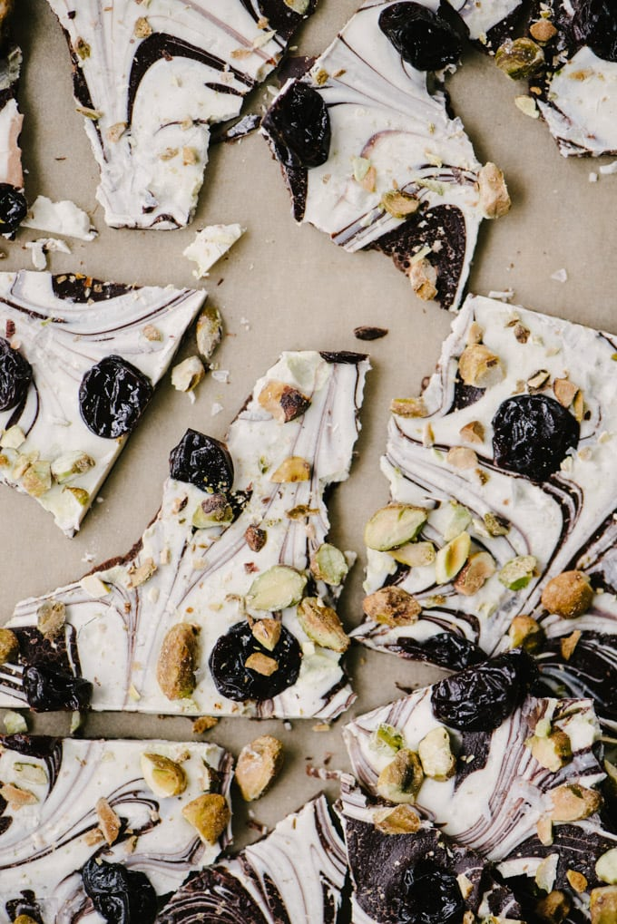 Chocolate bark is the easiest homemade candy. My white and dark chocolate bark with cherries and pistachios is makes for a beautiful Valentine's Day dessert or DIY gift. #chocolate #bark #homemade #candy #diy #valentinesday