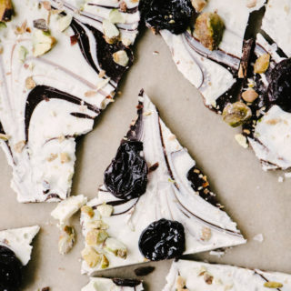 Swirled Chocolate Bark with Cherries and Pistachios