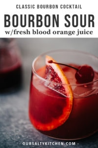 A blood orange cocktail is the perfect celebration of winter's best cocktail flavors. Embrace the bitter notes of fresh blood oranges paired with smokey, sweet bourbon in this blood orange bourbon sour. This winter bourbon cocktail is so easy to make, super refreshing, and strikes the perfect balance between sweet and bitter.