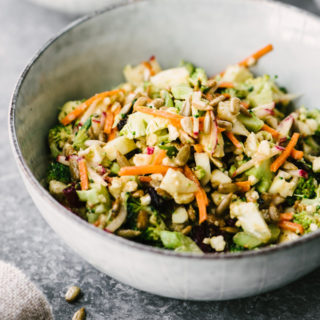 Broccoli and Cauliflower Salad with Sunbutter Sauce