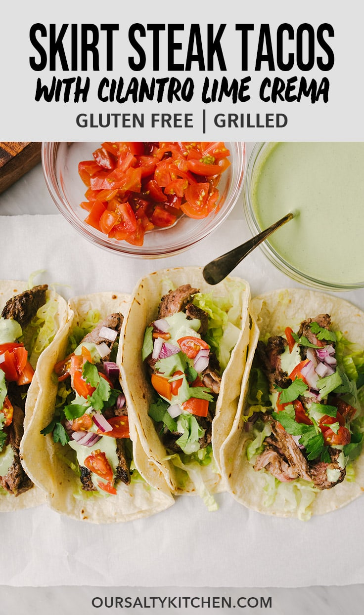These skirt steak tacos are perfect for Taco Tuesday! They're marinated in a homemade carne asada spice blend, then grilled until crispy on the outside and tender on the inside. These easy weeknight tacos are finished with a fresh and flavorful cilantro lime sour cream sauce that quickly transforms these into the best tacos EVER. #steak #tacos #mexicanfood #tacotuesday #glutenfree