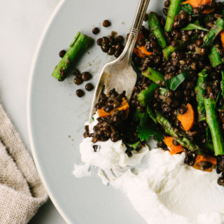 Black Lentils with Roasted Asparagus and Carrots