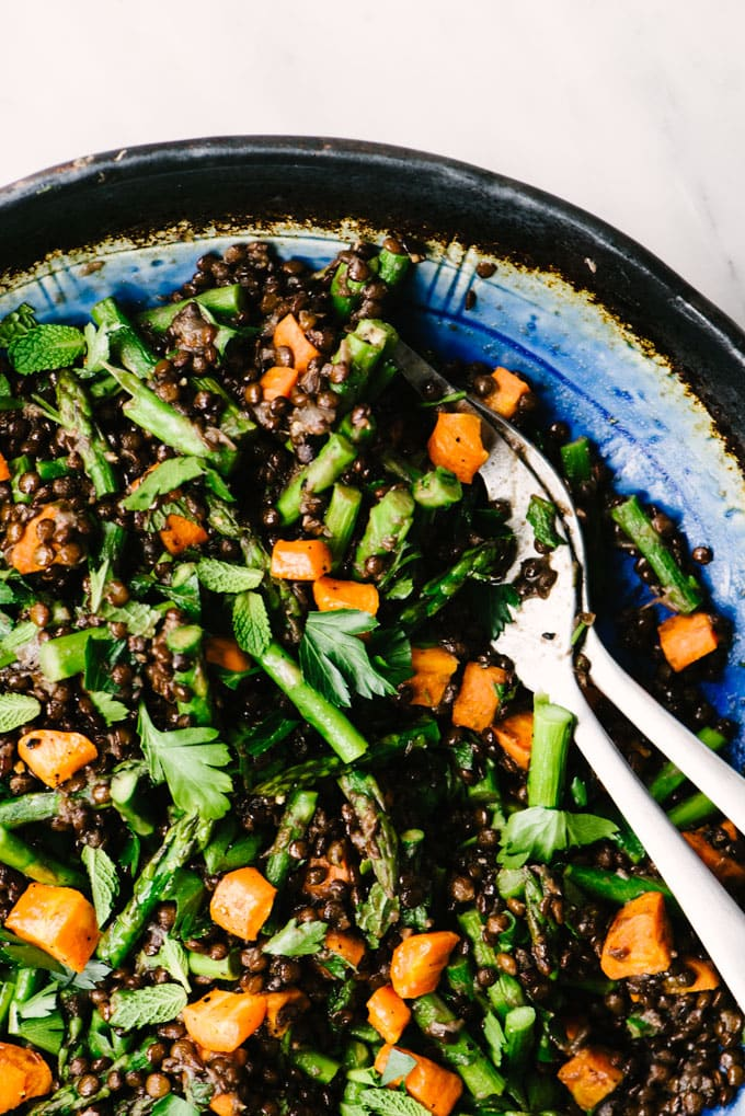 A detail photo of freshly tossed black lentil salad with roasted asparagus, roasted carrots, and fresh mint and parsley.