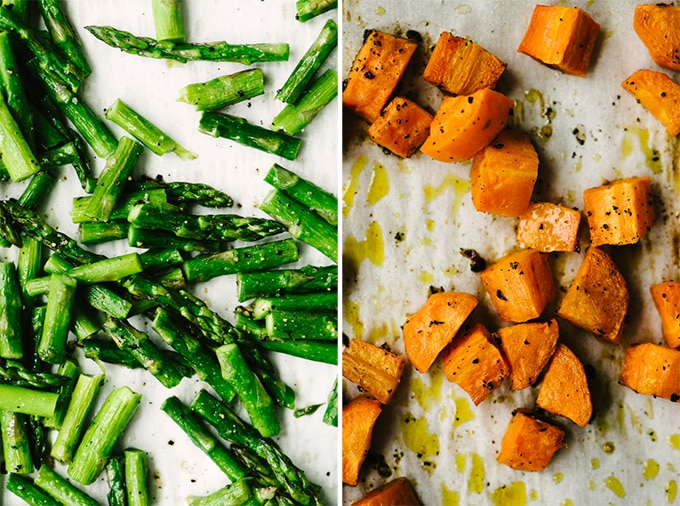 Left - crisp and tender roasted asparagus. Right, soft and caramelized roasted carrots.