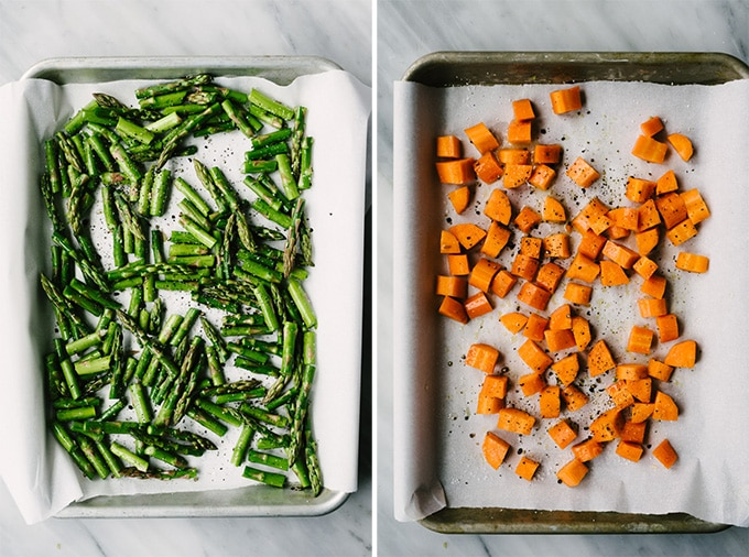 Roast vegetables on quarter sheet pans that take different lengths of time to cook. Left, raw asparagus, and right, raw carrots, on quarter sheet pans.