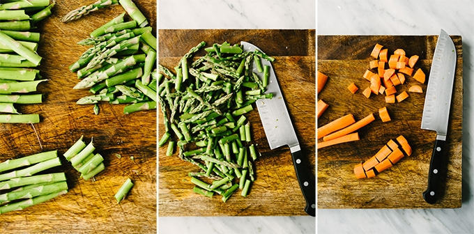 Three images showing how to cut asparagus and carrots for black lentil salad with roasted vegetables.