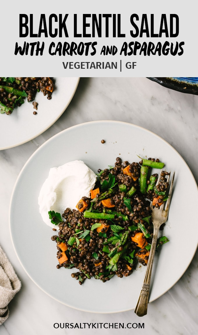 Elevate your meatless Monday game with these easy on the eyes, heavy on the flavor, vegan black lentils with roasted vegetables! Figuring out how to cook black lentils might seem intimidating, but I promise it's super easy. You'll be a pro in no time using my tried-and-true tips. #blacklentils #recipe #vegan #vegetarian #asparagus