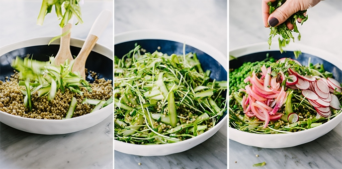 A series of three images showing how to make a spring sorghum salad. From left to right - adding shaved asparagus with warm sorghum; a green detox salad base of sorghum, shaved asparagus, and peas shoots; garnishing the sorghum salad with fresh mint.