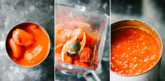 A series of three images showing how to puree whole canned tomatoes to achieve the perfect consistency for tomato sauce to make eggs in purgatory.