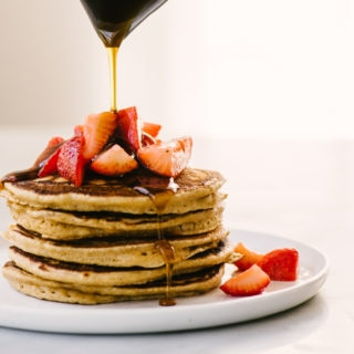 Whole Grain Pancakes with Macerated Strawberries