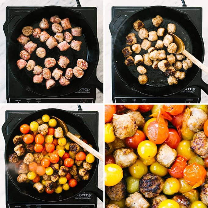 Four images showing how to prepare Italian sausage and burst tomatoes in a cast iron skillet for summer caprese whole wheat pasta.