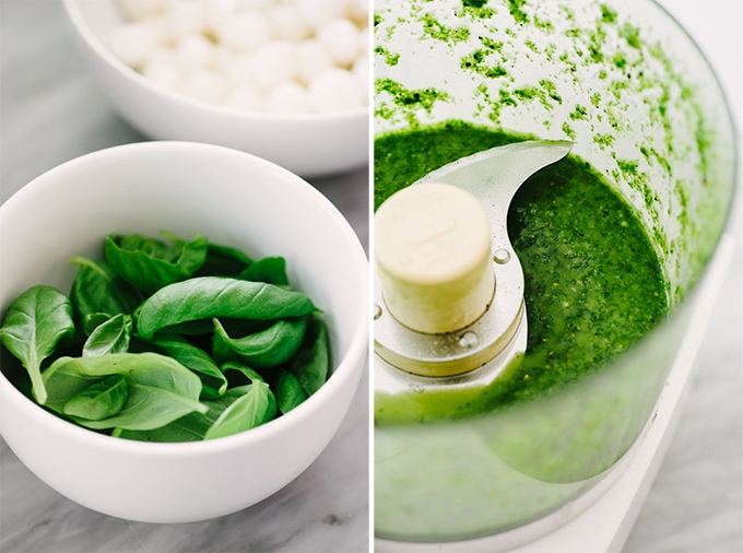Left - a small white bowl filled with fresh basil leaves. Right, a food processor with freshly prepared healthy basil pesto.