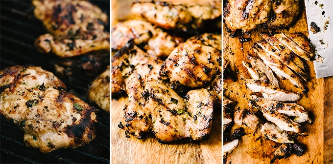 Three images showing how to grill, rest, then slice cilantro lime chicken thighs for grilled chicken tacos.