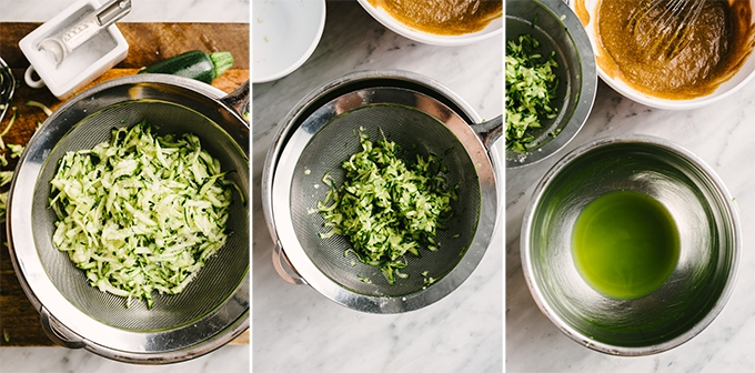 Three images showing how to remove water from shredded zucchini for making zucchini bread with almond flour.
