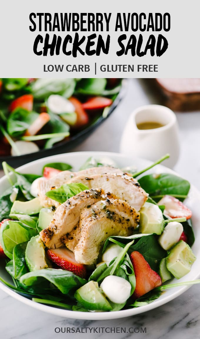 This strawberry chicken salad is a healthy, vibrant dinner recipe you'll crave again and again. This simple spring salad is made with smokey charcoal grilled chicken, sweet strawberries, avocados, and a creamy balsamic dressing. This dinner salad is fast (just 30 minutes), easy, and 100% addictive. Make it tonight! #healthyrecipes #strawberries #avocado #spring #dinner