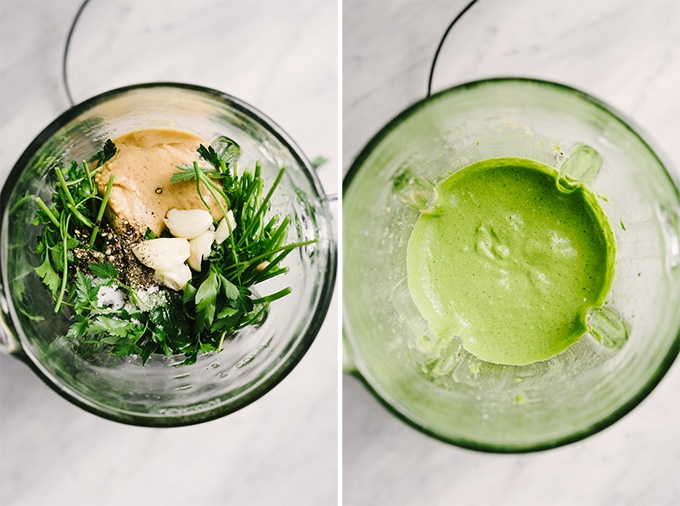 How to make green tahini sauce. Left, parsley, tahini, olive oil, garlic cloves, and seasoning in a blender. Right - an overhead view of freshly made green tahini sauce in a blender.