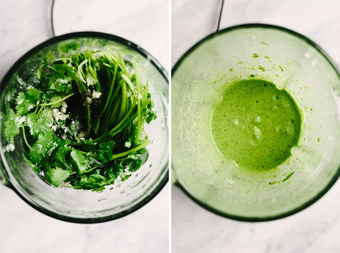 Two images showing how to make cilantro lime vinaigrette in a blender for steak fajita salad.