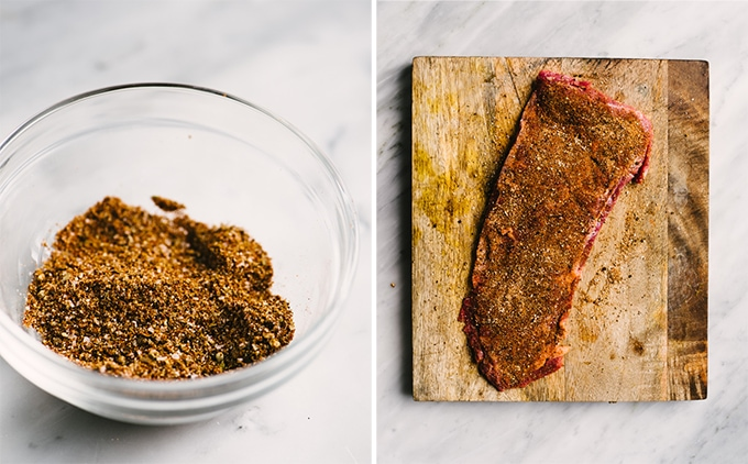 Left - a glass ramekin filled with steak fajita dry rub seasoning. Right - skirt steak covered with fajita seasoning on a wood cutting board.