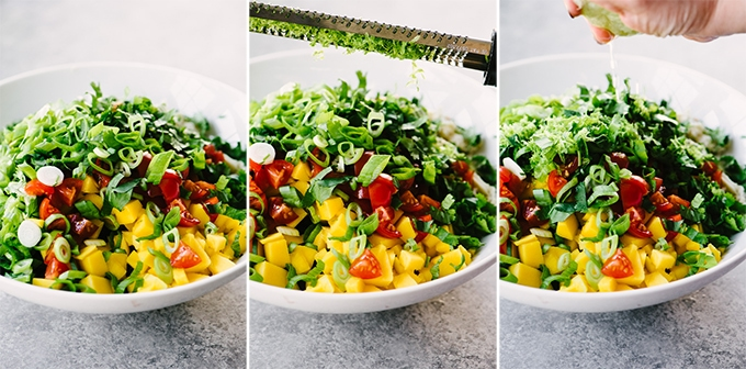 Three images showing different stages of how to make crab salsa.